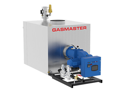 GMI Series 12M industrial hot water boiler unit, made of high quality stainless steel alloy.